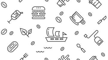 Doodles de linha de restaurante