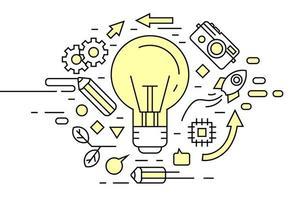 Doodle de idéia de lâmpada