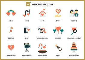 Wedding icons set for business vector