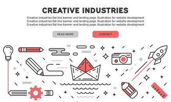 Page de destination de la ligne plate des industries créatives