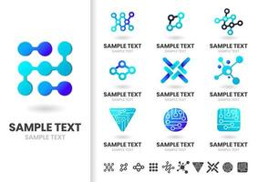 Set of blue gradient logo shapes