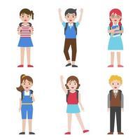 Conjunto de iconos de avatar de niños que van a la escuela vector