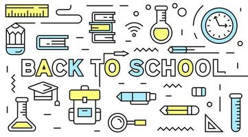 Back to school flat line design with young and doodle style