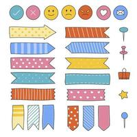Doodle ribbon and element icon set