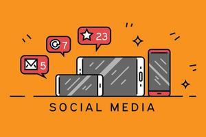Diseño de línea plana de redes sociales con fondo naranja