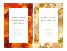 Set of two vector frames with autumn graphic patterns.