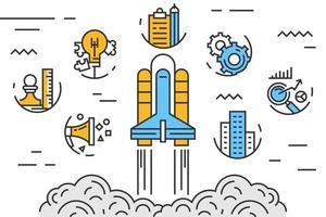 Startup Rocket Gekritzel