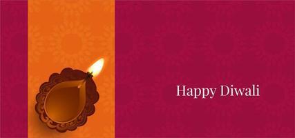 Simple Happy Diwali festival greeting with diya vector