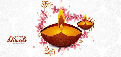 Elegante plantilla de diseño de tarjeta de festival de diwali