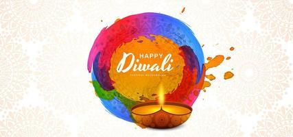 Plantilla de tarjeta de felicitación de Deepavali con hermoso fondo diwali diya ardiente