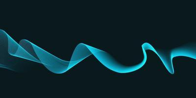 Ondas abstratas azuis sobre fundo preto