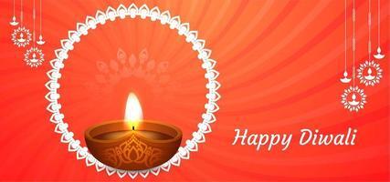 Feliz fondo naranja Diwali con diya clásico