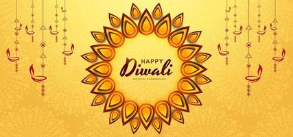 Yellow diwali greeting card festival background  vector