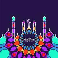 Colorful mosque Happy Muharran background