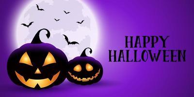Spöklik lila Halloween-banner