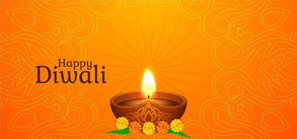 Happy Diwali greeting with single glowing diya vector