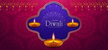 brinnande diya på Happy Diwali Holiday bakgrund