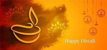 Feliz tarjeta de felicitación naranja y amarilla de Diwali