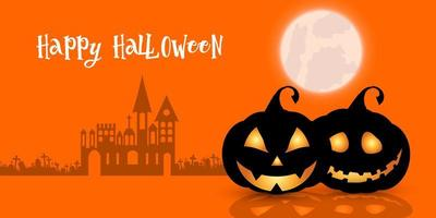 Happy Halloween pumpkins and spooky haunted house banner