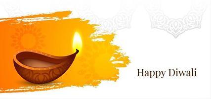 Happy Diwali watercolor splash diya background  vector
