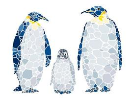 Mosaic penguin family isolated on a white background.