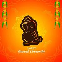 Contour orange vif et marron Salut Ganesh Chaturthi