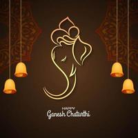 Ganesh Chaturthi brown greeting with bells