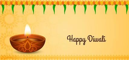 Traditional Happy Diwali greeting  with flowers vector