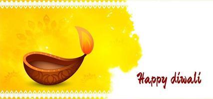 Happy Diwali bright yellow watercolor splash greeting vector