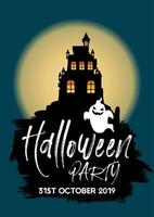 Halloween party Invite with castle and ghost vector