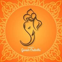 Ethnique Ganesh Chaturthi fond orange vif