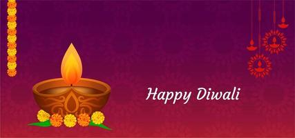 Happy Diwali purple red with single diya greeting vector