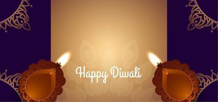 Dark Happy Diwali with two diya  vector