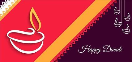Bright bold Happy Diwali greeting with stripe banner
