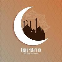 Happy Muharran crescent moon and mosque background