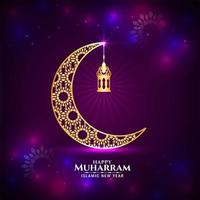Feliz Muharran brilhante roxo dourado lua saudação