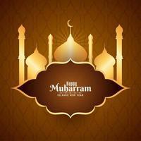 Feliz Muharran simples Mesquita dourada fundo