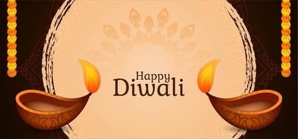 Happy Diwali simple graphic greeting with diya vector