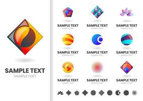 Set of modern colorful interlocking shape logos