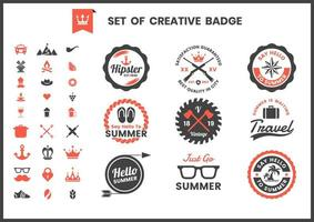 Set of black and red retro business logo badges