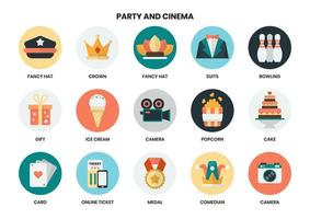Set of circular party and cinema icons  vector