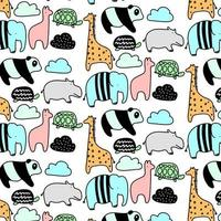 Hand drawn animal pattern background vector