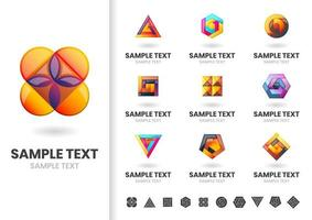 Set of orange and purple layered shapes logos