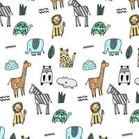 Jungle animal pattern background vector