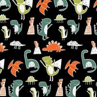 Dinosaur pattern Black background vector