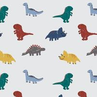Hand drawn dinosaur pattern background vector