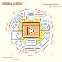 Digitale media platte lijn cirkel