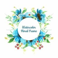 Blue watercolor floral background