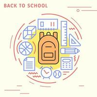 Back to school flat line design  vector