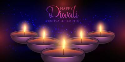 Set of Diwali lamps banner